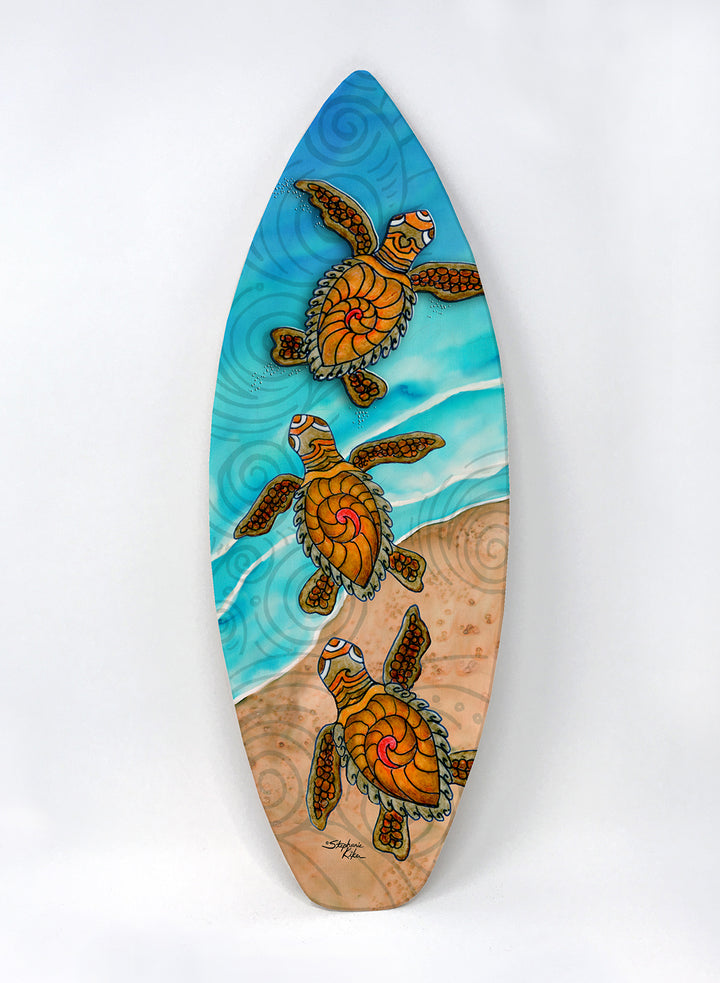 3 Baby Turtles Surfboard Wall Art