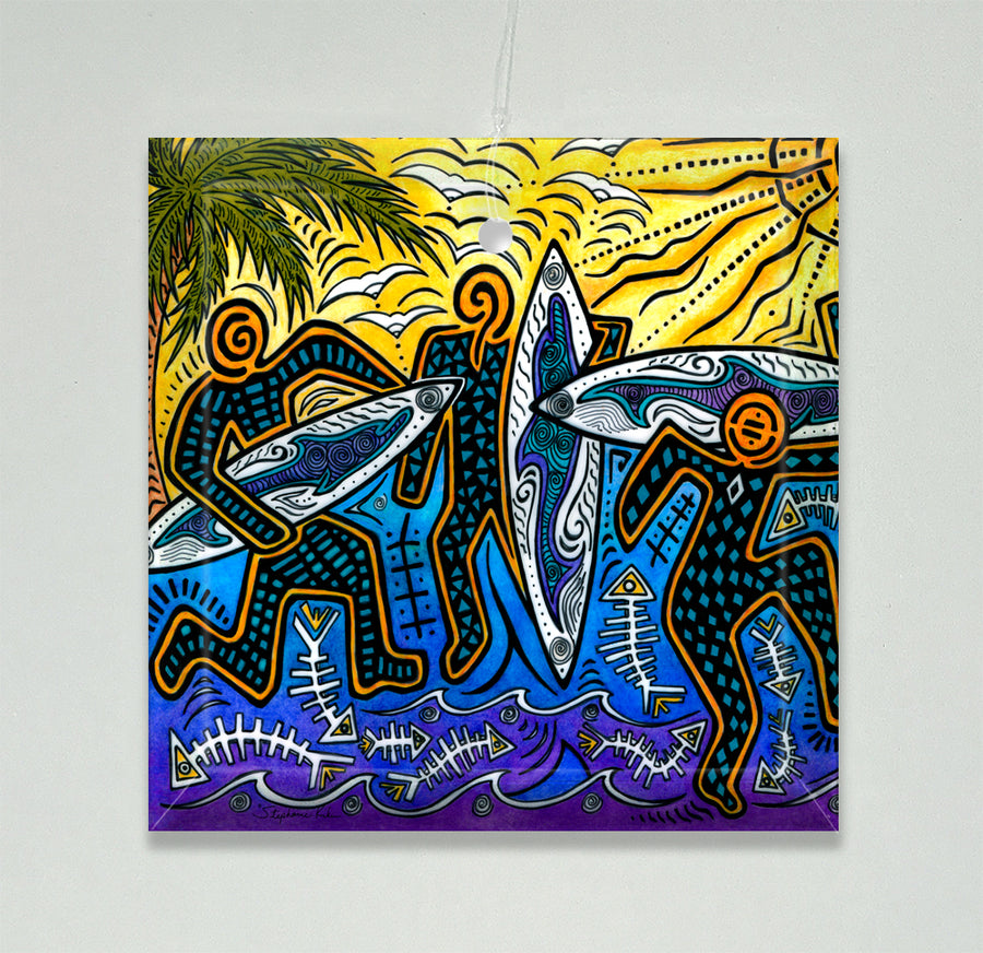 3 Surfers Ornament/Suncatcher