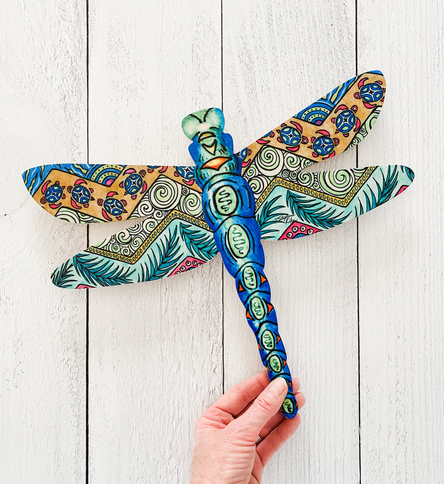 Tropical Patterns Blue- Dragonfly Shape