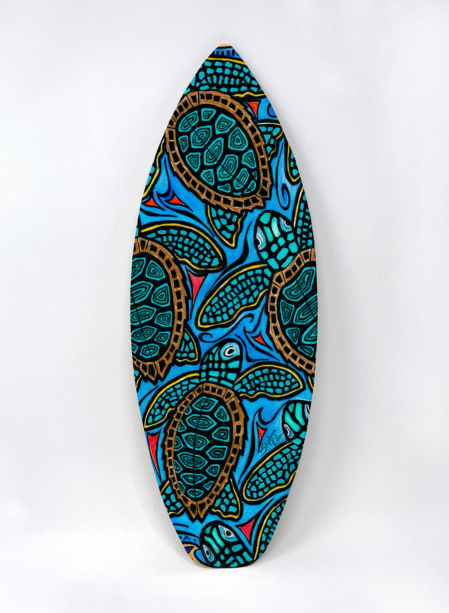 Baby Turtles Surfboard Wall Art