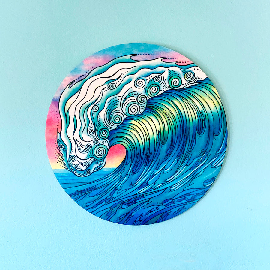 The Wave - Round Wood Wall Art