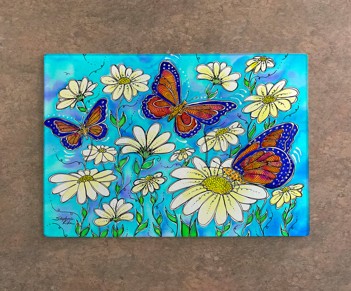 Butterflies on Daisies Cutting Board