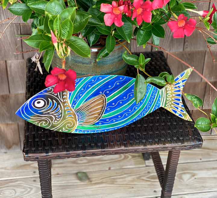 Blue Fish Wood Wall Art
