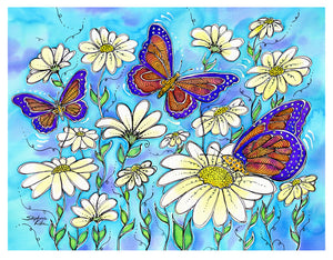 Butterflies on Daisies Print