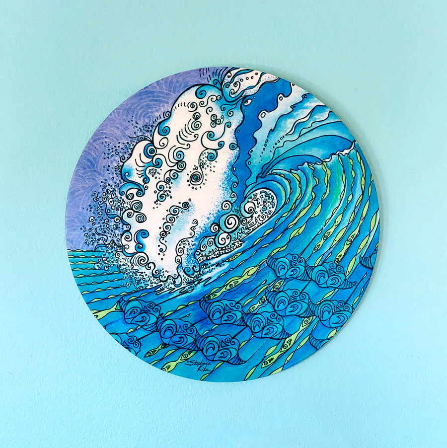 Ocean Life - Round Wood Wall Art