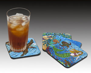 Seahorses One Color Coaster