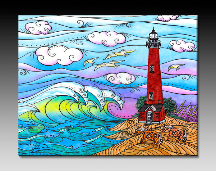 Corolla Waves Lighthouse Ceramic Tile