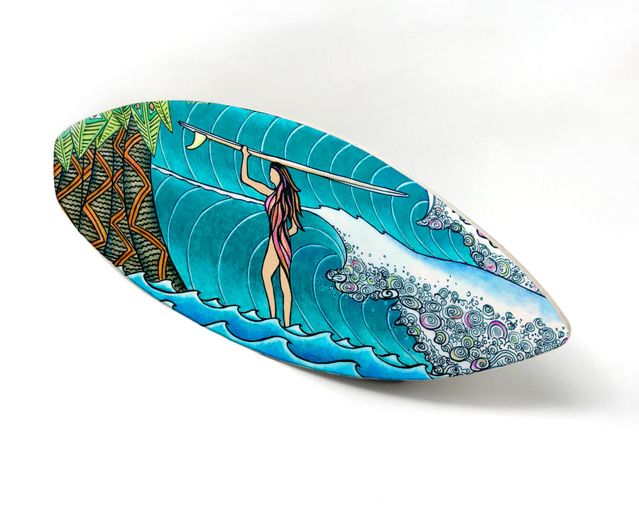 Surfer Girl Surfboard Wall Art