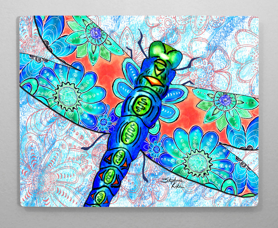 Dragonfly Flowers Aluminum Wall Art