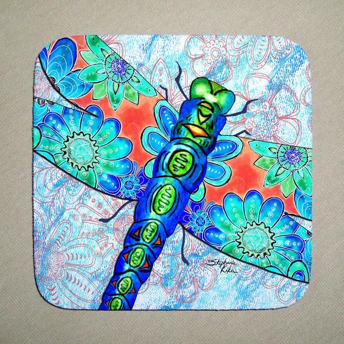 Dragonfly Flowers Coaster