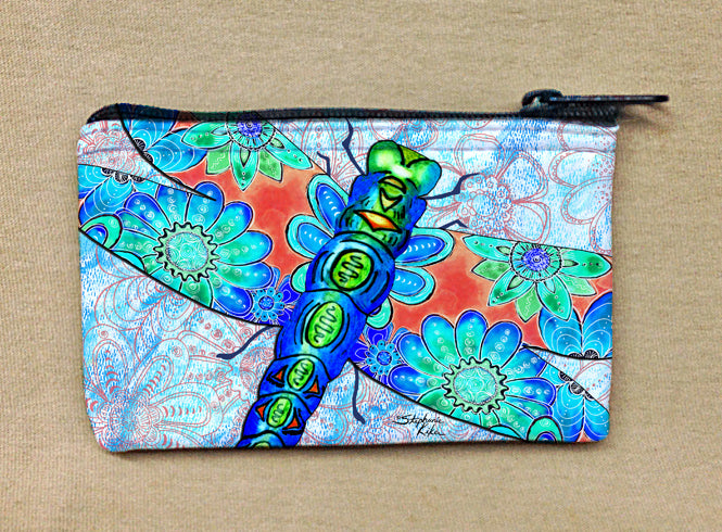 Dragonfly Flowers Coin Bag