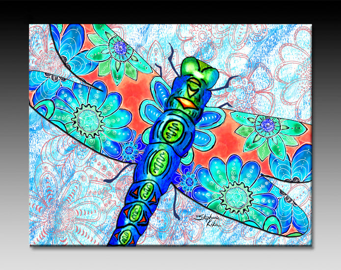 Dragonfly Flowers Ceramic Tile