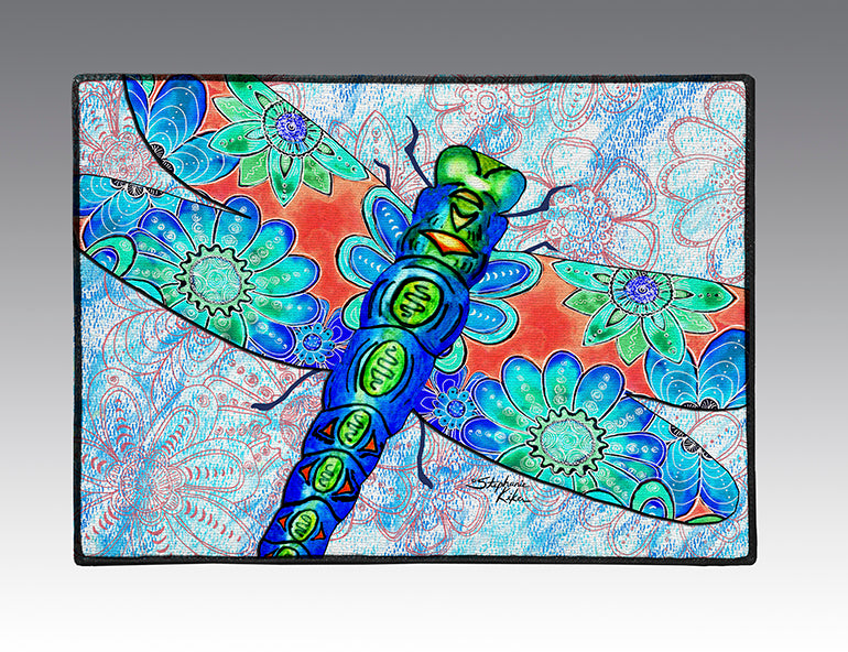 Dragonfly Flowers Door Mat