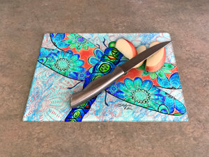 Dragonfly Flowers Cutting Board