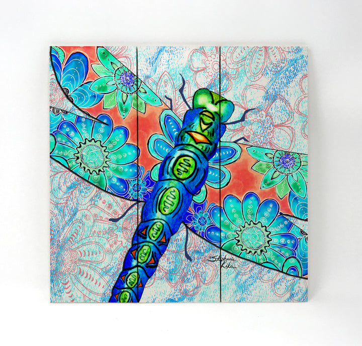 Dragonfly Flowers Wall Art - Wood Triptych