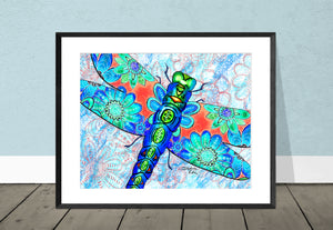 Dragonfly Flowers Giclee Print