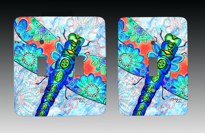 Dragonfly Flowers Light Switch Cover