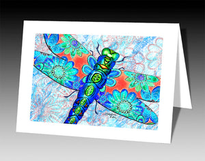 Dragonfly Flowers Notecard