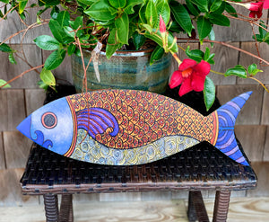 Fish Flowers - Fish Wood Wall Art