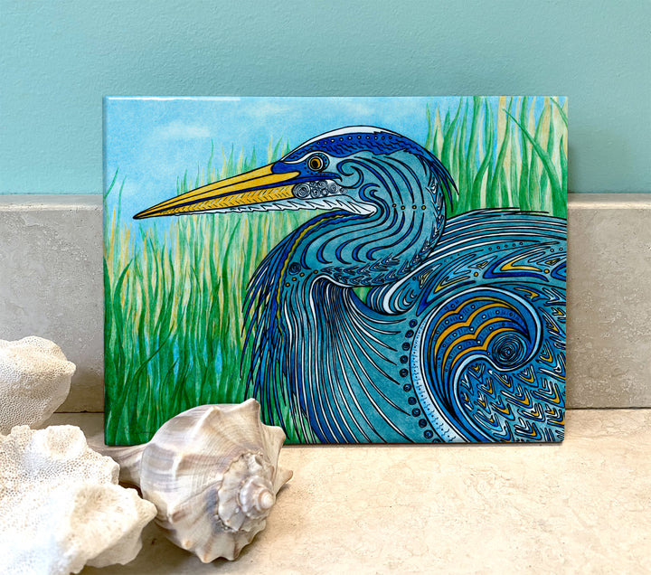 Great Blue Heron Ceramic Tile