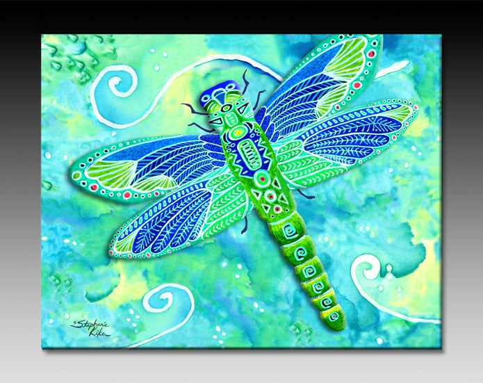 Green Dragonfly Ceramic Tile