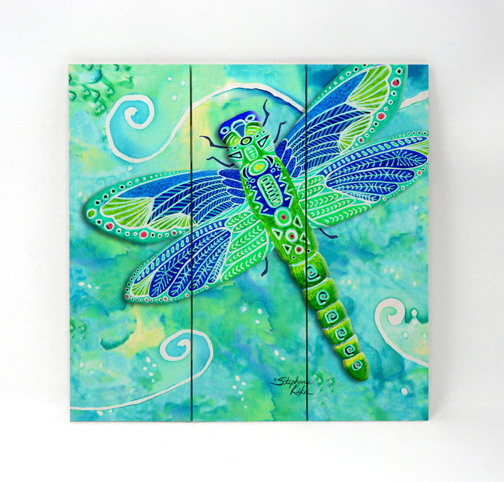 Green Dragonfly Wall Art - Wood Triptych