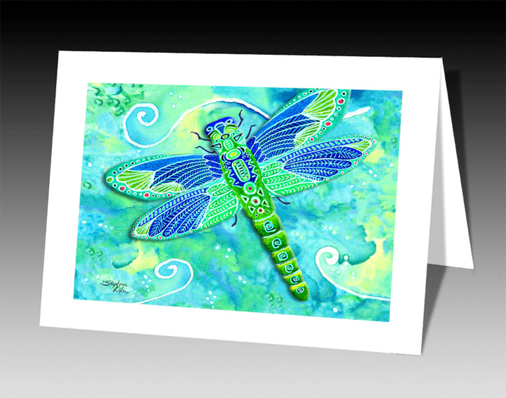 Green Dragonfly Notecard