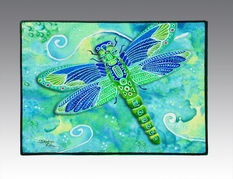 Green Dragonfly Door Mat