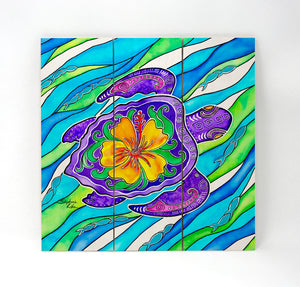 Hibiscus Turtle Wall Art