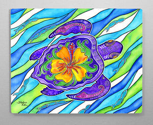 Hibiscus Turtle Aluminum Wall Art