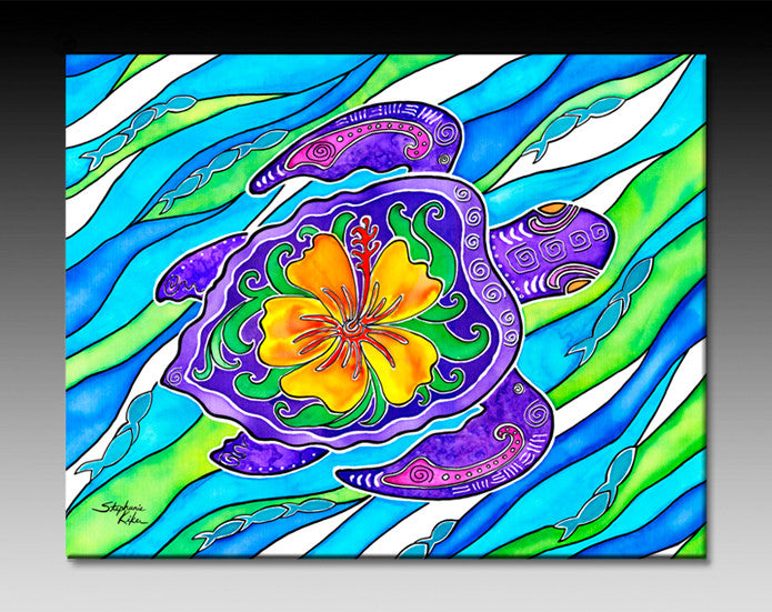 Hibiscus Turtle Ceramic Tile