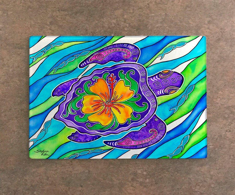 Hibiscus Turtle Cutting Board