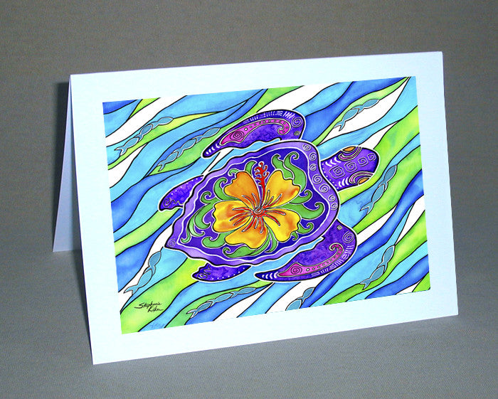 Hibiscus Turtle Notecard