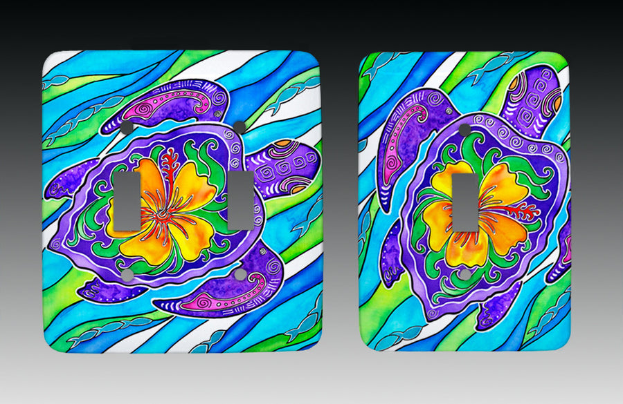 Hibiscus Turtle Light Switch Cover