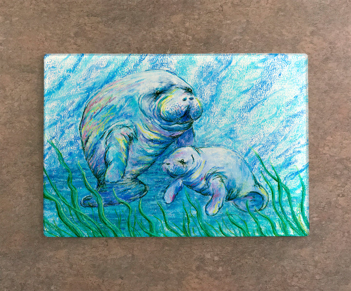 Manatees in Grass Cutting Board