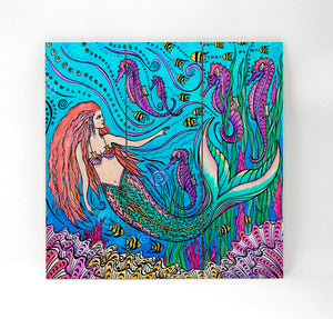 Mermaid and Seahorses Wall Art
