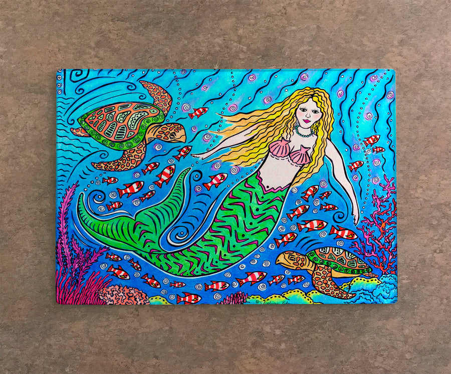 Mermaid and Turtles Cutting Board