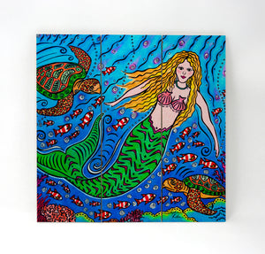 Mermaid and Turtles Wall Art