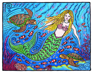 Mermaid and Turtles Print