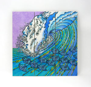 Ocean Life Wall Art - Wood Triptych