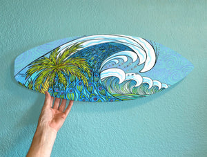 Palm Trees and Waves Surfboard Wall Art