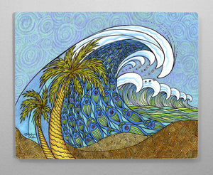 Palm Trees and Waves Aluminum Wall Art