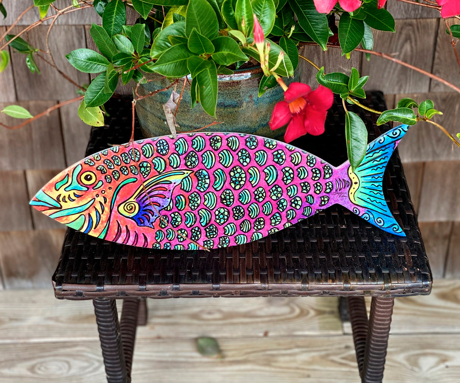 Parrot Fish Wood Wall Art