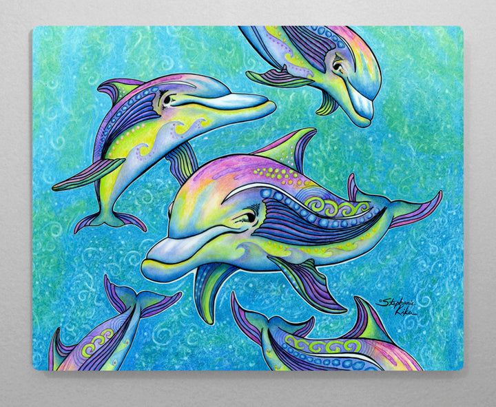 Rainbow Dolphin Aluminum Wall Art