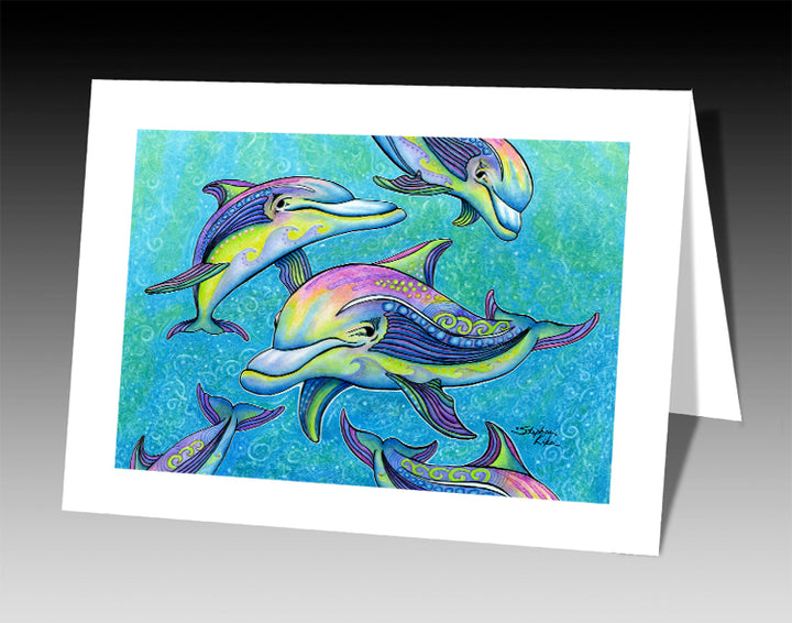 Rainbow Dolphins Notecard