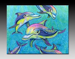 Rainbow Dolphin Ceramic Tile
