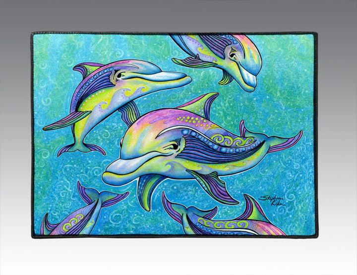 Rainbow Dolphins Door Mat