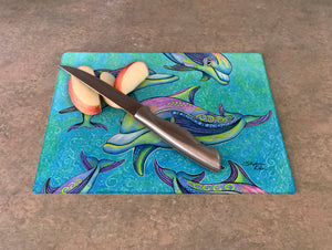 Rainbow Dolphins Cutting Board