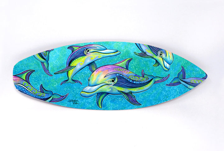 Rainbow Dolphins Surfboard Wall Art