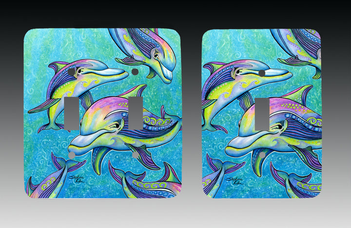Rainbow Dolphins Light Switch Cover
